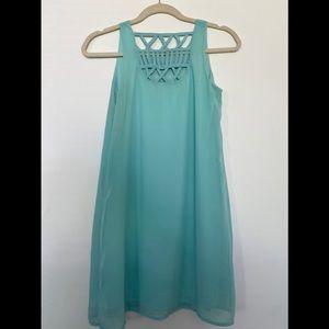 Aqua shift dress with criss cross detailed back